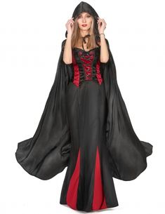 Black vampirella halloween cape for adults: This black cape with a hood for adults has beautiful finishes. The fabric is very soft and slightly shiny. (Dress not included). An ideal accessory to complete your Vampire costume for Halloween or. Vampire Costume Women, Vampire Dress, Vampire Costumes, Halloween Vampire, Adult Costumes, Costumes For Women, Halloween Costumes, Vampires, Adulte Halloween