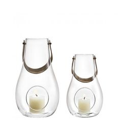 Die kleinen Glaslaternen von der Designerin Maria Berntsen im Sparset. Mehr Windlichter und Kerzenhalter von Holmegaard finden Sie bei ConceptRoom.de