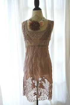 Vintage lace dress, shabby lace, cottage chic, french market, romantic coffee stained via Etsy.