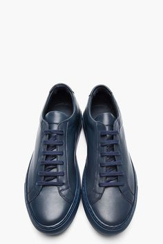 COMMON PROJECTS Navy Leather Achilles Low-Top Sneakers