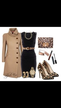 Black dress with leopard accessories