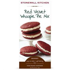 """Stonewall Kitchen's Red Velvet Whoopie Pie Mix takes a famed New England dessert and mixes it with a little Southern hospitality for a harmonious pairing of """"make-no-excuses"""" kind of baking mix. #redvelvet #valentiens"""