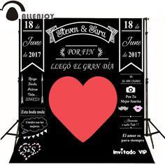 Photocall wedding Allenjoy Custom balckboard Background Chalk big heart Party photo booth diy photocall Excluding bracket