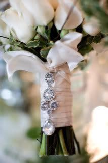 crystals on bridal bouquet