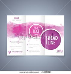 Vector modern flyer, poster or tri-fold brochure design template with purple watercolor texture