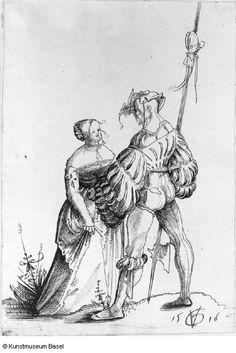 1516  Urs Graf (SWISS) Soldier with a halberd and prostitute.  (Kreiger mit Hellebarde um eine Dirne werbend)