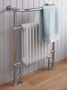 A Traditional Heated towel Rail cleverly integrating a Cast Iron Radiator. A Traditional Heated towel Rail cleverly integrating a Cast Iron Radiator. All our St James heated Bad Inspiration, Bathroom Inspiration, Family Bathroom, Small Bathroom, Bathroom Ideas, Bathroom Radiators, Bathroom Faucets, Victorian Bathroom, 1930s Bathroom