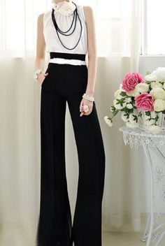 Vintage Womens Career Slim High Waist Flare Wide Leg Long Pants Palazzo Trousers | eBay