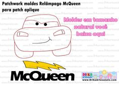 Patchwork Moldes Relâmpago McQueen para patch aplique post