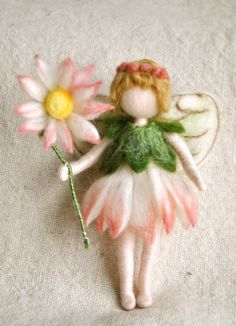 Flower Fairy Waldorf inspired needle felted doll by MagicWool, $54.00