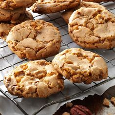 Butterscotch Toffee Cookies Recipe -With its big butterscotch and chocolate flavor, my cookie stands out. I like to enjoy it with a glass of milk or a cup of coffee. It's my fallback recipe when I'm short on time and need something delicious fast. —Allie Blinder, Norcross, Georgia