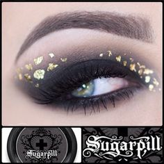 Glamorous look by katosu using Sugarpill Bulletproof matte black eyeshadow with gold leaf flakes from the craft store. So pretty! http://instagram.com/p/llJgVtxRIz/