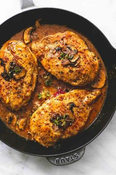 Seasoned and stuffed chicken marsala with mozzarella, parmesan, and sun dried tomatoes, smothered in savory marsala mushroom sauce. There's a big fat fusion of flavors happening right here right now