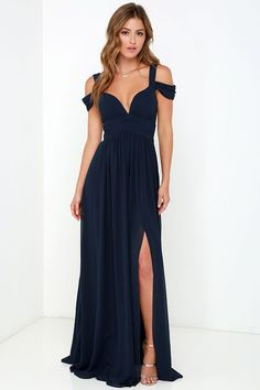 Sexy Off the Shoulder Split Navy Blue Chiffon Prom Dress