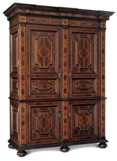 """BRUSSELS ARMOIRE No: 513.053.02  65""""W x 29-1/4""""D x 86-1/2""""H  Hand-carved armoire in primavera solids with intricate marquetry and detailed panels.  Available in antiqued finishes.  Also available in 65""""W x 22-1/2""""D x 86-1/2""""H as Brussels II Armoire (513.453.02)."""