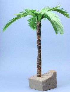 how to make palm tree from paper - Finished Scale Model Palm Tree Made From Fabric Leaves And Kraft Paper