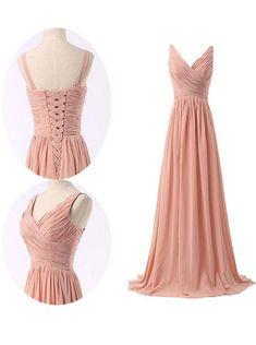 Simple V-neck Ruffles Long Chiffon Bridesmaid Dresses CHBD-70901