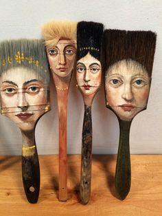Alexandra-Dillon axe painting brush artwork, Artist Alexandra Dillon Paints Classic Portraits On Everyday Objects Paint Brush Art, Paint Brushes, Art And Illustration, Illustration Fashion, Art Illustrations, Art Altéré, Classic Portraits, Wow Art, Arte Pop