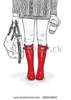 Stylish rubber boots, jeans, a bag and a sweater. Female legs in stylish clothes and shoes. Vector illustration for a postcard or a poster, print for clothes. Spring or autumn.