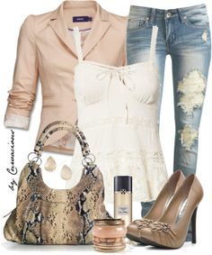 Triple Threat - Skinnys, Pumps, and Straps I would do this with a classy dark wash jean instead not a fan of ripped jeans