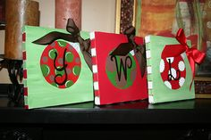 Christmas ornament initial on canvas