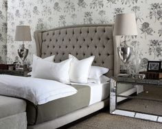 Grey and white bedroom with silver accents and toile print wallpaper | from Savor Home blog