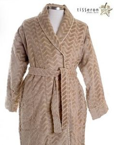$135 - Elegant and understated, this mocha tan beige 100% organic cotton terry velour bathrobe with tan and white cord trim will be your best friend on a chilly morning. Getting out of bed in the early hours becomes much easier when you can wrap yourself in its soft zig zag plush velour fabric with double looped terry cloth to keep yourself warm. The Slimline vertical slash pockets, and soft velour zig zag weave has looped terry on the inside, velour outside.