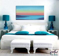 Beach decor Sunset painting Canvas art print by ArtFromDenise