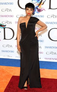 Jennifer Hudson works it in this one-shoulder black gown and a bright red lip.