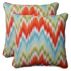 Outdoor 2-Piece Square Toss Pillow Set - Orange/Red Chevron at Target.com