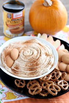 This Pumpkin Cheesecake Dip is one everyone can enjoy with their favorite cookie, pretzel, or fruit!