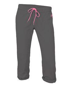 Look what I found on #zulily! Gunmetal & Pink Year Round Football Capri Pants #zulilyfinds