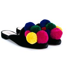 Natasha Zinko Pom Pom Trimmed Slippers (900 AUD) ❤ liked on Polyvore featuring shoes and slippers