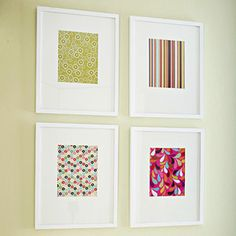 Another use for scrapbook paper and some inexpensive frames (Ikea?)