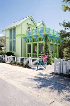 Bright green and blue painted cottage. Cute Cottage, Beach Cottage Style, Beach Cottage Decor, Coastal Cottage, Coastal Style, Coastal Colors, Cottage Ideas, Coastal Living, Carillon Beach
