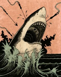 """""""You are not a reflection of the people who can't love you."""" -Caitlyn Siehl illustration by Jared Tuttle Shark Images, Shark Art, Shark Tattoos, Arte Horror, Aesthetic Art, Japanese Art, Art Inspo, Cool Art, Graphic Art"""