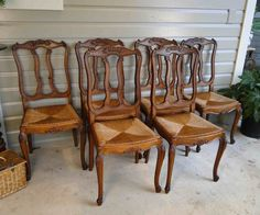 Antique French Dining Chairs Rush Seats Shells Tall Back Carving Cabriole legs #FrenchCountry #CraftsmenoftheEra
