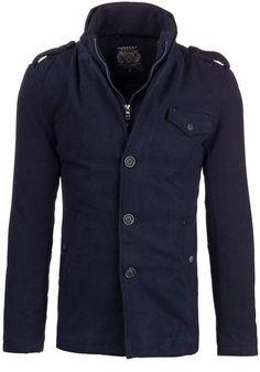 Granatowy płaszcz męski zimowy Denley EX908