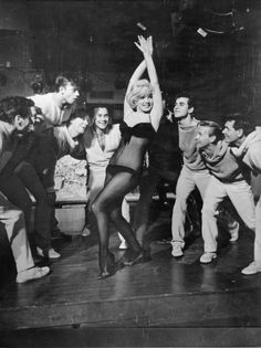 Marilyn Monroe on the set of George Cukor's Let's Make Love (1960).