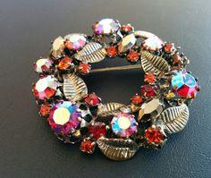 Vintage Scatter Pin Brooch Flower AB Aurora Glass Garnet Red Rhinestone! 6175