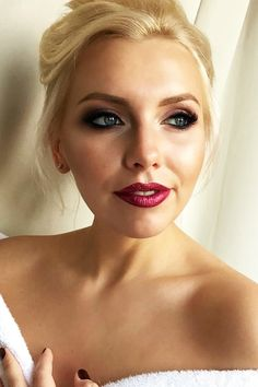 30 Spellbinding Bridesmaid Makeup For Every Woman ❤ bridesmaid makeup bright lipstick with blond hairr bridesroom ❤ See more: http://www.weddingforward.com/bridesmaid-makeup/ #wedding #bride #makeup #weddingmakeup