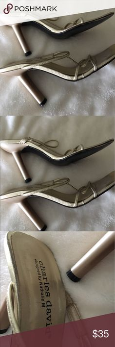Glad -- Charles David strap heels..elegant Did leather size 6 //toes  marks / can't see when they're on! Charles David Shoes Heels
