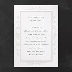 A bright white card with a pearlized border and flower designs. Vow Renewal Invitations, Emboss, Vows, Flower Designs, Bright, Pearls, Flowers, Recipes, Beads