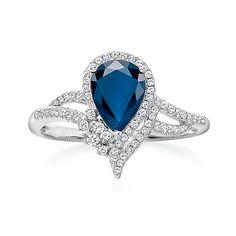 Blue Sapphire & 1/5 ct. tw. Diamond Ring in 10K Gold
