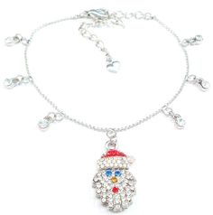 Anklet Santa Claus Crystal Charm Multicolor Silvertone Ball Chain Adjustable #nobrand