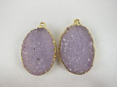Natural Agate Druzy Oval Pair