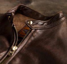 Schott NYC for Restoration Hardware - Vintaged Cafe Racer Motorcycle Jacket Dean Winchester, Percy Jackson Serie, Rafael Garcia, Leather Men, Brown Leather, Leather Jackets, Leather Sofas, Classic Leather, Vintage Leather