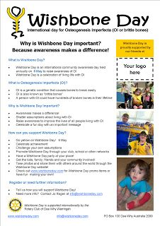 Wishbone Day is an international awareness day for Osteogenesis Imperfecta (OI) also known brittle bones.