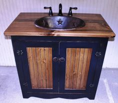 furniture terrific country bathroom vanities and sinks in distressed copper finish with double handle widespread bathroom faucet on solid wood vanity top above cast iron cabinet knobs pulls