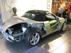 Porsche Boxster 986 part body cutaway in the Porsche Museum